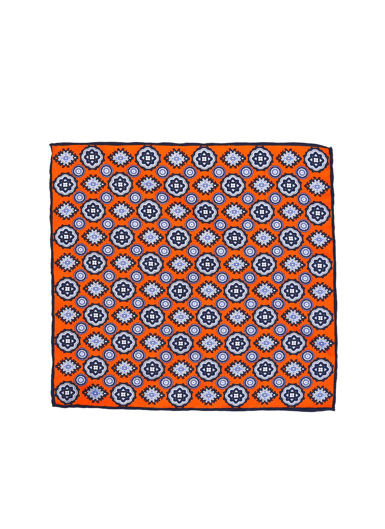 George Hogg Geometrik Desenli Lacivert-Turuncu İpek Mendil 5002356634001 Ürün Resmi