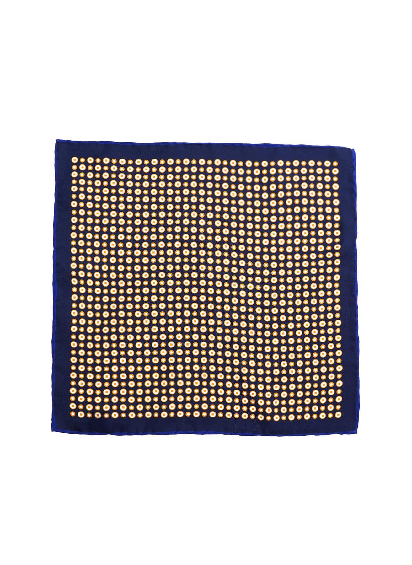 George Hogg Geometrik Desenli Lacivert-Sarı İpek Mendil 5002356635001 Ürün Resmi