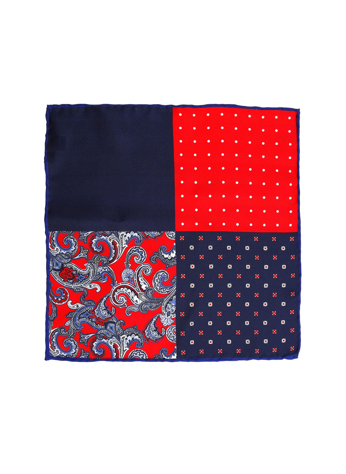George Hogg Şal Desenli Lacivert-Kırmızı İpek Mendil 5002356639001 Ürün Resmi