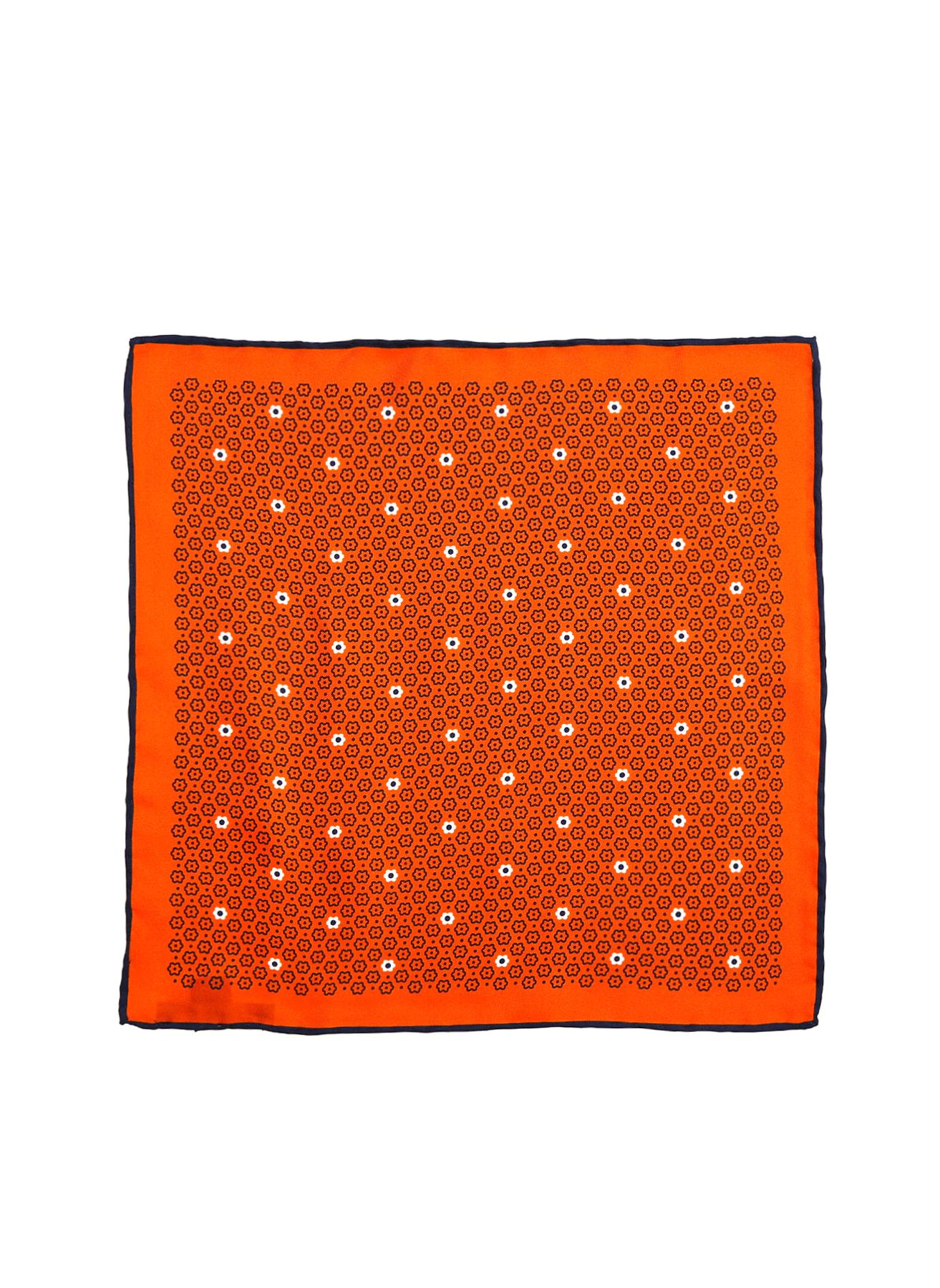 George Hogg Geometrik Desenli Turuncu İpek Mendil 5002356642001 Ürün Resmi