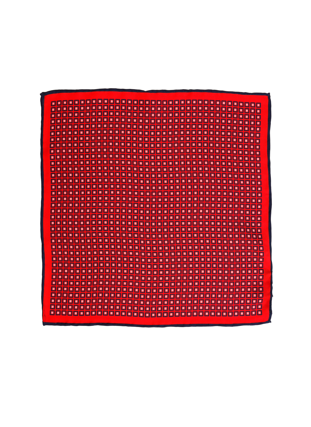 George Hogg Geometrik Desenli Lacivert-Kırmızı İpek Mendil 5002356643001 Ürün Resmi