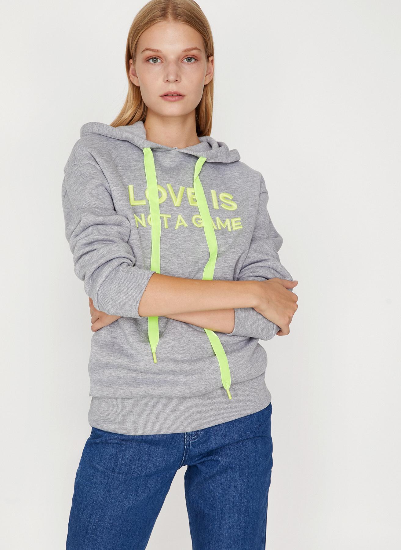 Koton Kapüşonlu Yazılı Gri Sweatshirt S 5002358342003 Ürün Resmi