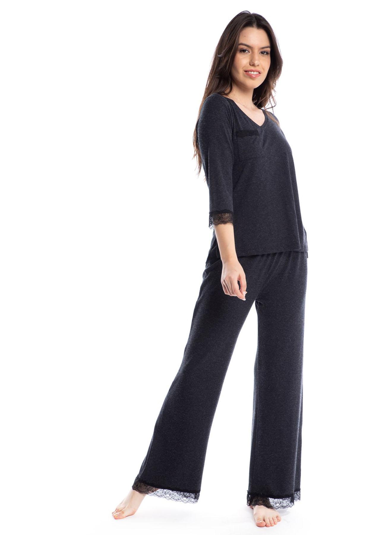 374b319c3fe15 L Füme Melanj Pamuk&Pamuk Pijama Takımı 5002358625001 Kadın İç Giyim