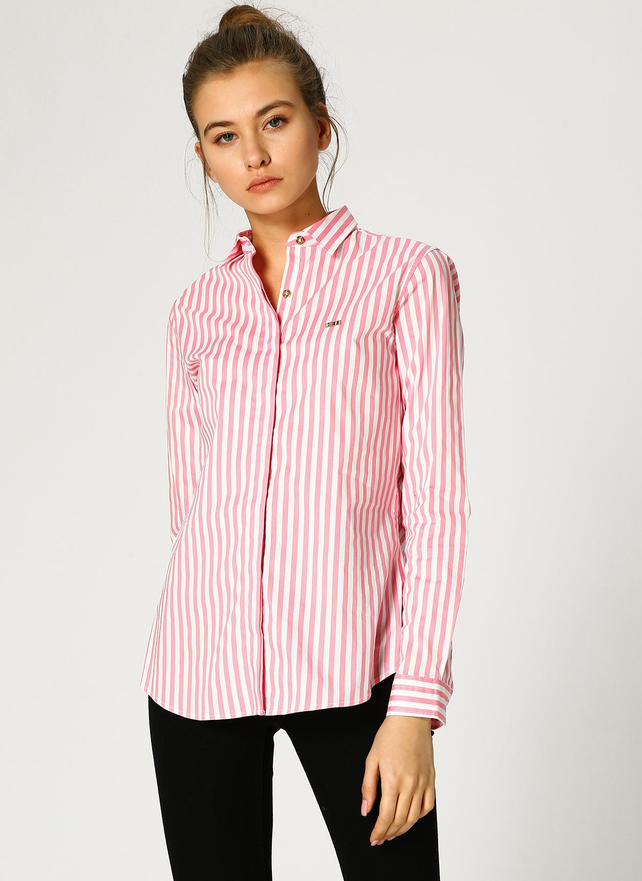 U.S. Polo Assn. Çizgili Pembe-Beyaz Gömlek 44 5002358871006 Ürün Resmi