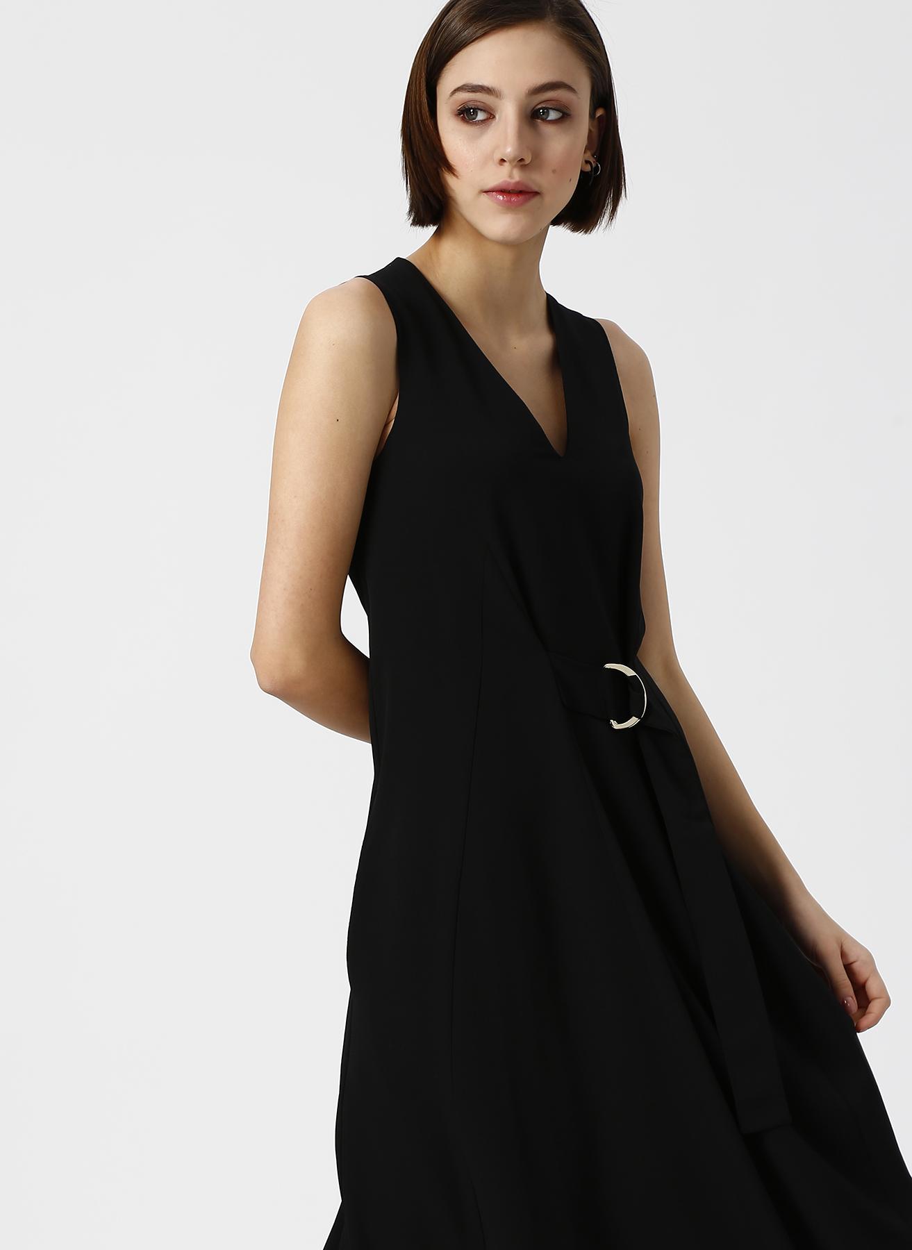 cee4c56616c1c 38 Siyah Beymen Studio V Yaka Kemer Detaylı Elbise 5002367695002 Kadın Giyim