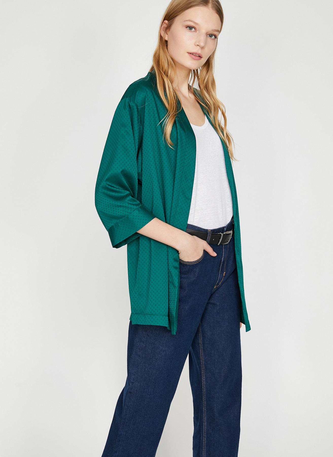 a5d8ac3c65b33 34 Koyu Yeşil Koton Kimono 5002369657001 Kadın Dış Giyim Trençkot & Pardösü