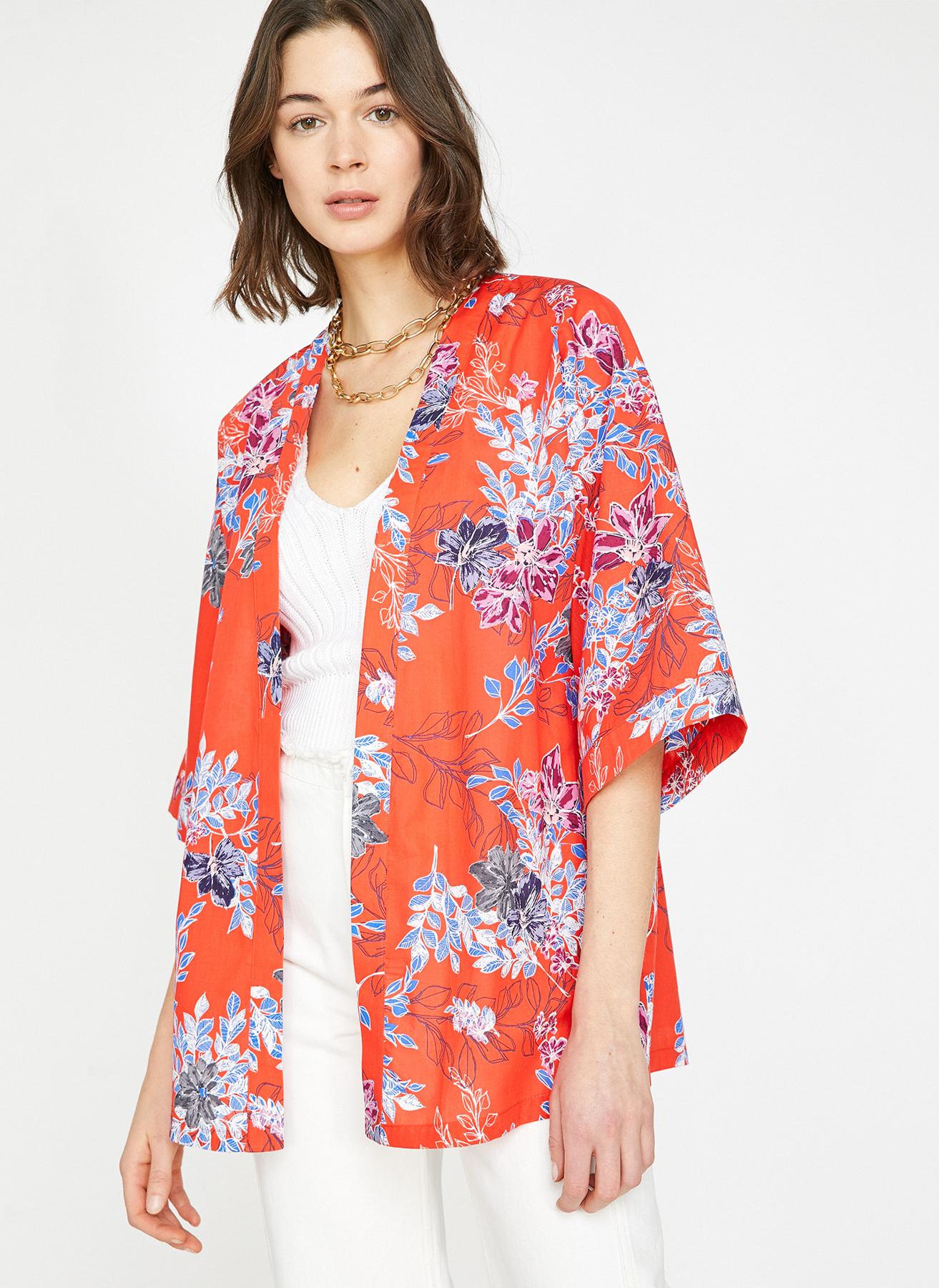 f4b5bdbe97b28 34 Kırmızı Koton Kimono 5002371082001 Kadın Dış Giyim Trençkot & Pardösü