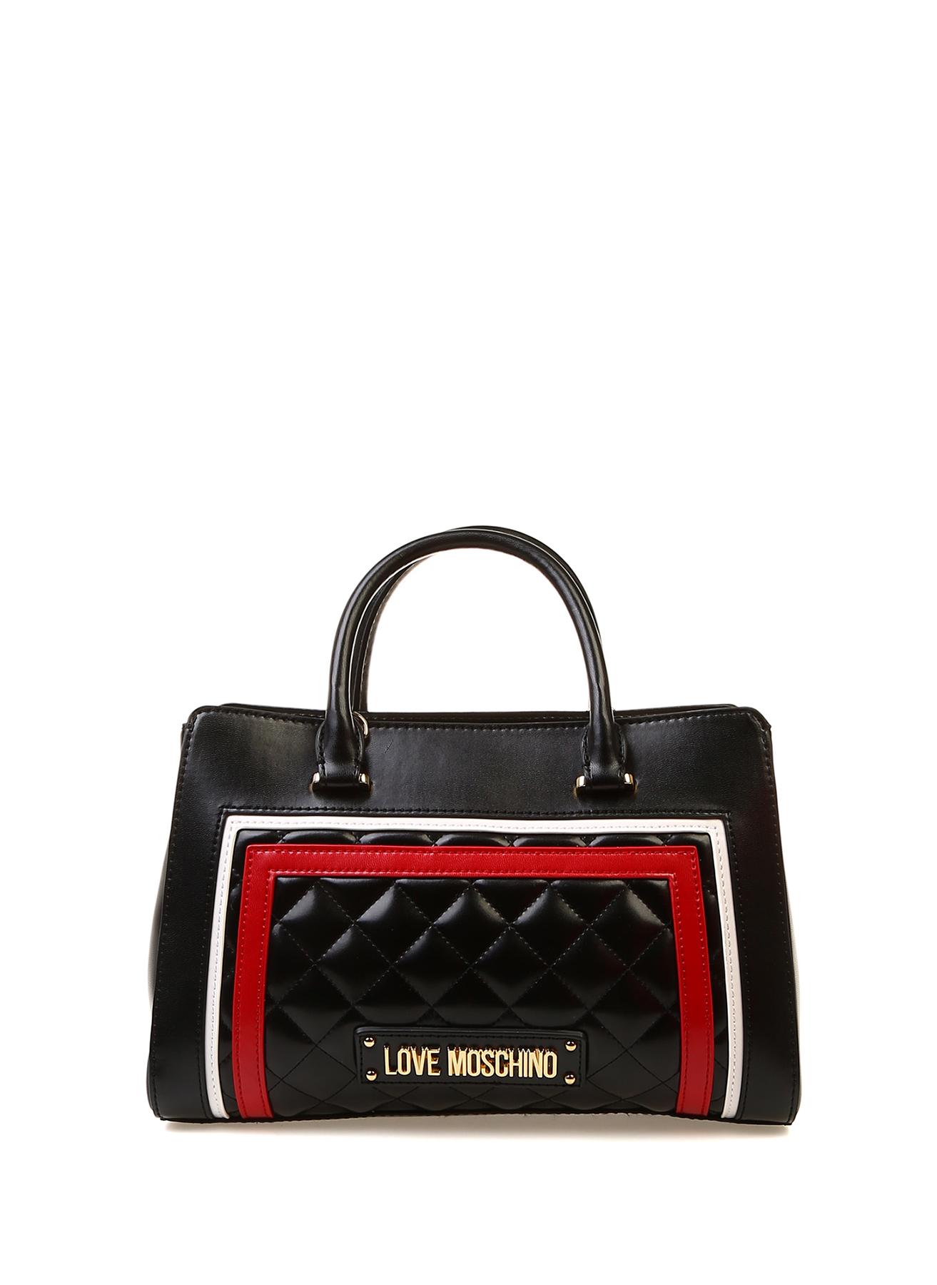 b1e3c1c07829e Siyah Love Moschino Kırmızı Beyaz Çizgili El Çantası 5002377563001 Ayakkabı  & Kadın Omuz