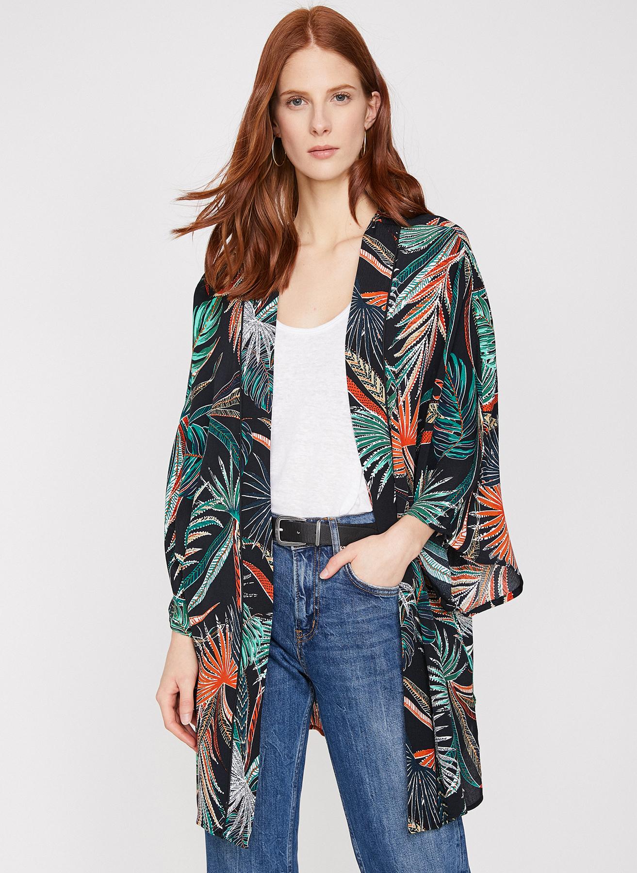 d6158dd498109 34 Koyu Siyah Koton Kimono 5002398157001 Kadın Dış Giyim Trençkot & Pardösü