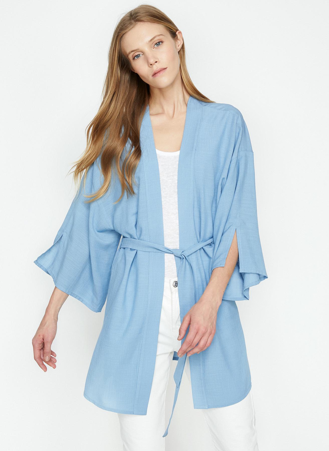 9cb3356c082db 34 Mavi Koton Kimono 5002406827001 Kadın Dış Giyim Trençkot & Pardösü