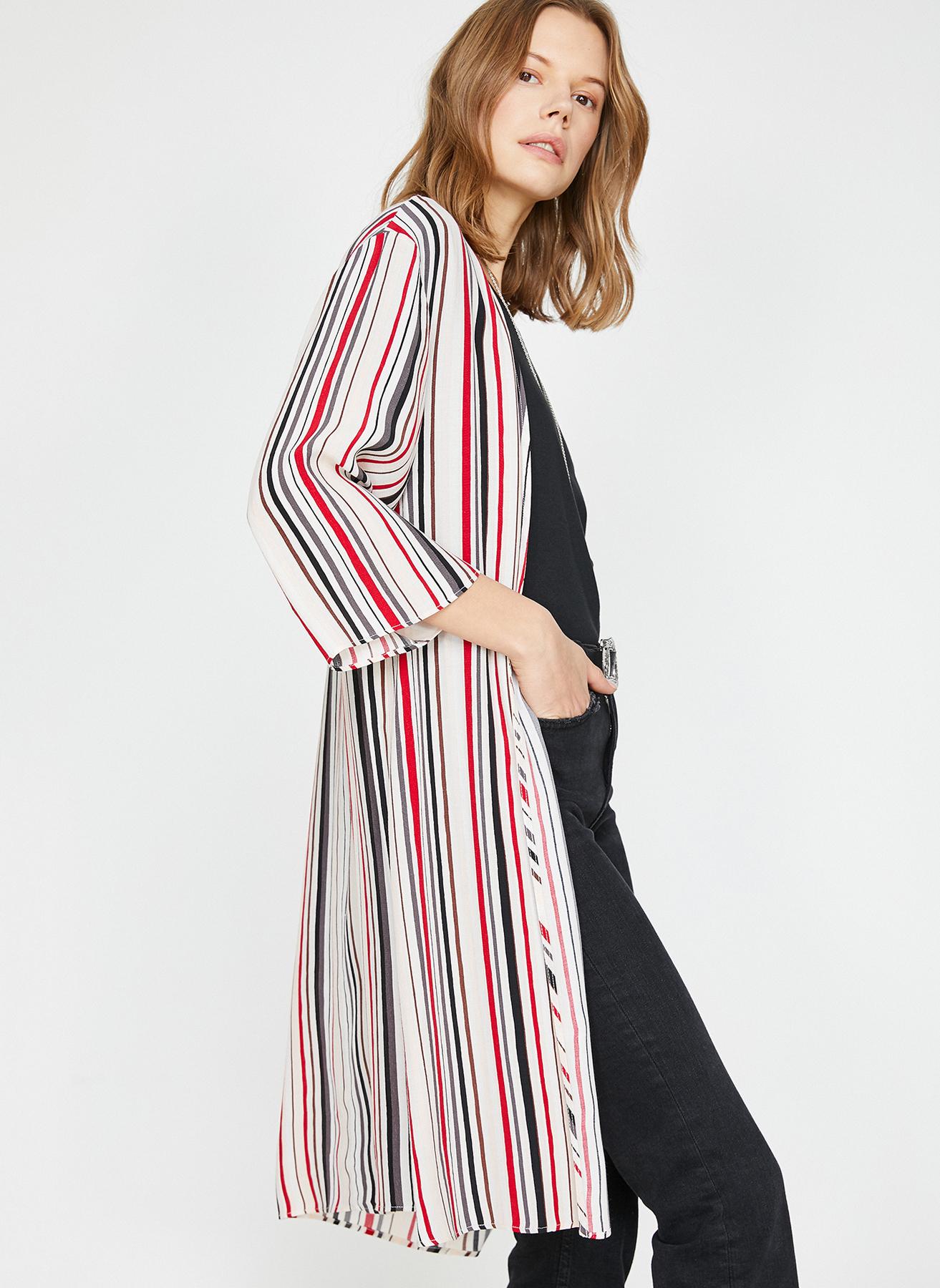 618a1906eb84f 34 Kırmızı Koton Kimono 5002423676001 Kadın Dış Giyim Trençkot & Pardösü